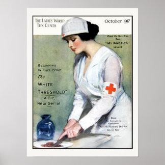 Vintage 1917 Damen-Zeitschrift-rotes Kreuz-Kranken Plakatdrucke