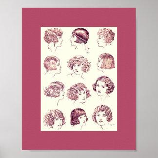 Vintage 1924 das Haar-Arten der Frauen Plakatdruck