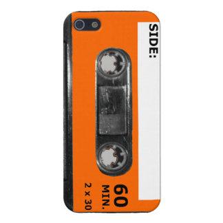 Vintage Achtzigerjahre orange Aufkleber-Kassette iPhone 5 Etuis