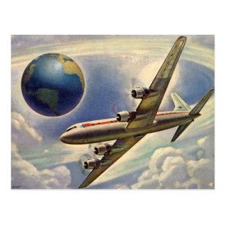 Vintage Adressenänderung Flugzeug um Erde