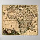 Vintage Afrika-Karte 1688 Poster
