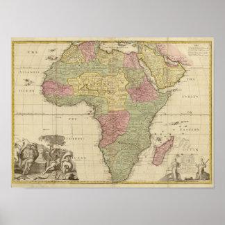 Vintage Afrika-Karte 1725 Poster