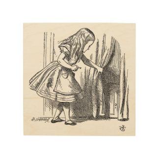 Vintage Alice im Wunderland, die nach der Tür Holzleinwand