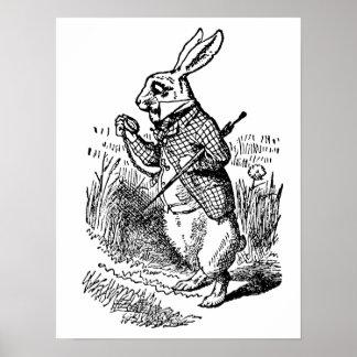 Vintage Alice im Wunderland die weiße Kaninchen-Uh Plakate