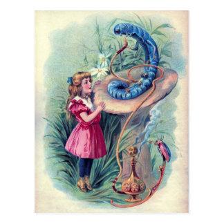 Vintage Alice im Wunderland-Illustration Postkarte