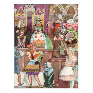 Vintage Alice im Wunderland, Königin der Herzen Postkarte