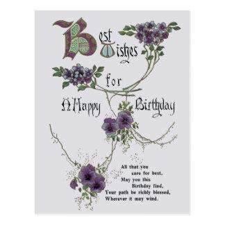 Vintage alles Gute zum Geburtstagpostkarte Postkarte
