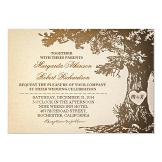 Vintage alte Eichenbaum-Hochzeitseinladungen 12,7 X 17,8 Cm Einladungskarte