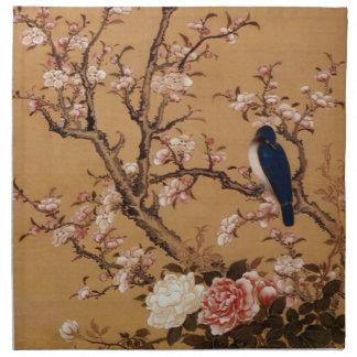 Vintage alte japanische Malerei eines Vogels auf Stoff Servietten