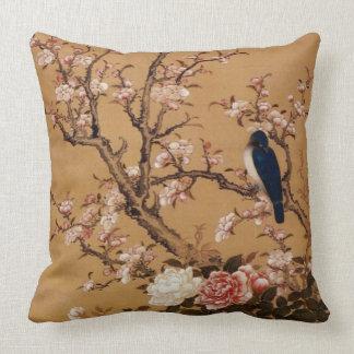 Vintage alte japanische Malerei eines Vogels auf Zierkissen
