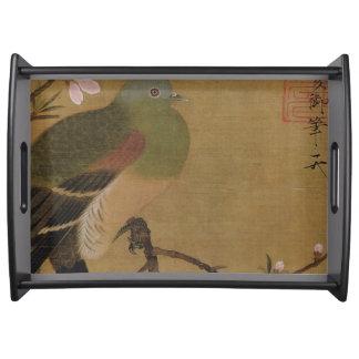 Vintage alte japanische Malerei eines wilden Serviertablett