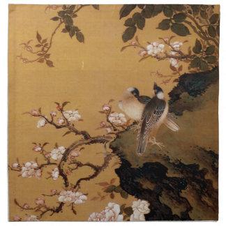 Vintage alte japanische Malerei von zwei Vögeln Stoff Serviette