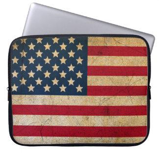 Vintage amerikanische Flagge USA des Grunge Laptopschutzhülle