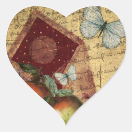 Vintage Andenken-Schmetterlings-Collage Herz Aufkleber