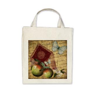 Vintage Andenken-Schmetterlings-Collage Einkaufstaschen