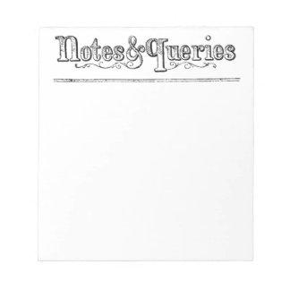 Vintage Anmerkungen und Fragen Typograf Notizblock