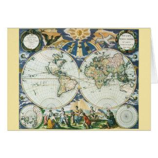 Vintage antike alte Weltkarte, 1666 durch Karte