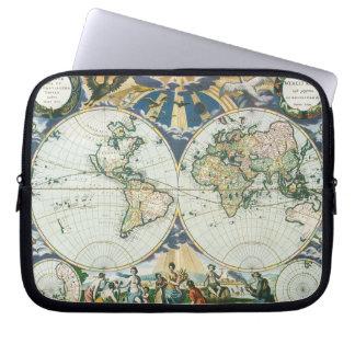 Vintage antike alte Weltkarte, 1666 durch Laptop Sleeve