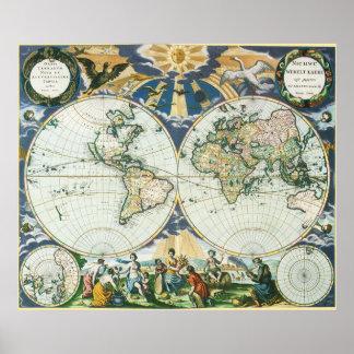 Vintage antike alte Weltkarte, 1666 durch Poster