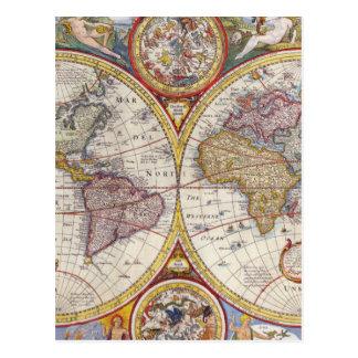 Vintage antike alte Weltkartenkartographie Postkarten