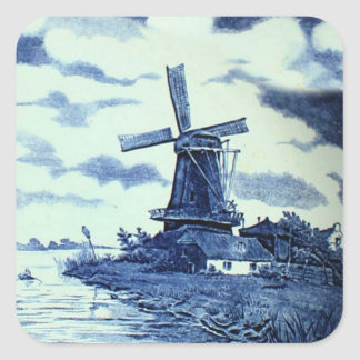 Vintage antike blaue Fliese Delfts - Windmühle Quadrataufkleber