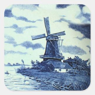 Vintage antike blaue Fliese Delfts - Windmühle Quadrat-Aufkleber