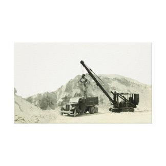 Vintage Antike des Kran-Betreiber-Kran-Laden-LKWs Leinwanddruck