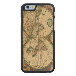 Vintage antike Karte der alte Weltkarten Carved® iPhone 6 Hülle Ahorn