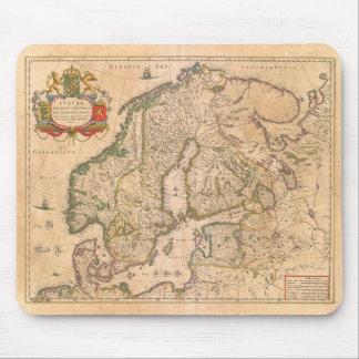 Vintage antike Karte von altem Skandinavien Mousepad
