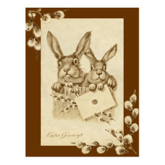 Vintage antike Ostern-Kaninchensepia-Postkarte