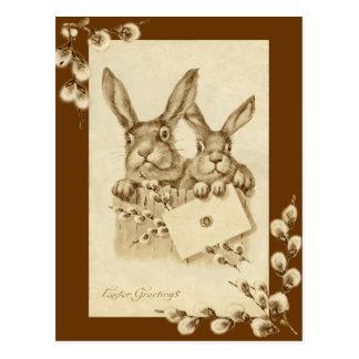 Vintage/antike Ostern-Kaninchensepia-Postkarte Postkarten