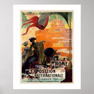 Vintage antike Romausstellungs-Reiseanzeige 1911 Poster