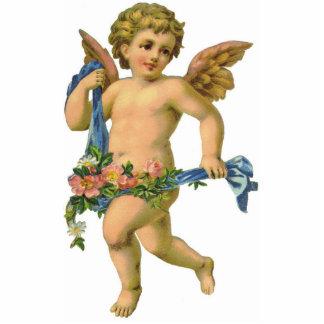 Vintage/Antiken-schreitene Engels-Engel-Verzierung Fotoskulptur Ornament