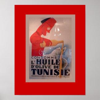 Vintage Anzeige, L'Huile d'Olive de Tunisie Poster
