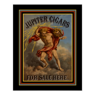 Vintage Anzeigen-Plakat-Jupiter-Zigarren Ca 1868 Poster