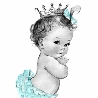 Vintage aquamarine blaue Mädchen-Dusche Prinzessin Freistehende Fotoskulptur