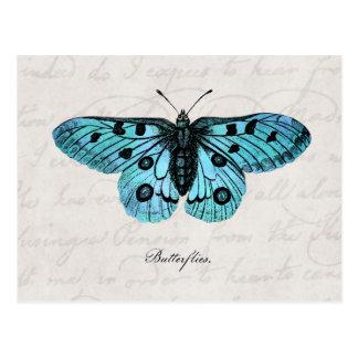 Vintage aquamarine blaue postkarte