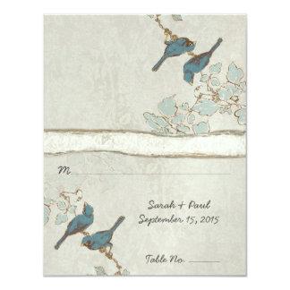 Vintage aquamarine Liebe-Vögel, die PlaceCard Karte