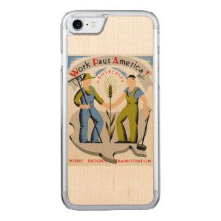 Vintage Arbeit zahlt Plakat Amerikas WPA Carved iPhone 8/7 Hülle