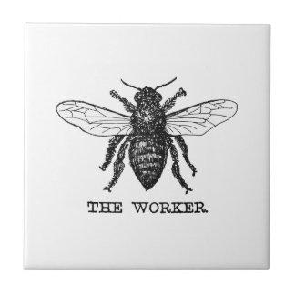 Vintage Arbeitskraft-Bienen-Illustration Kleine Quadratische Fliese