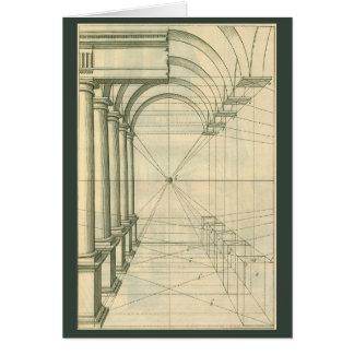 Vintage Architektur, Bogen-Spalten-Perspektive Karte