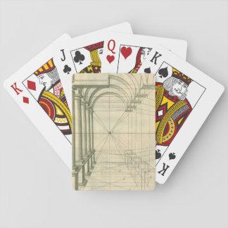 Vintage Architektur, Bogen-Spalten-Perspektive Spielkarten