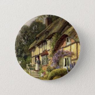 Vintage Architektur, Land-Hütten-Haus Runder Button 5,1 Cm