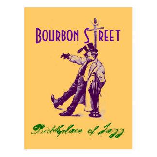 Vintage Art-Bourbon-Straße NOLA-Jazz-Postkarte Postkarte