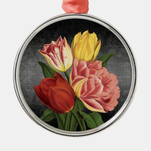 Vintage Art-Frühlings-Blumen - Verzierung rund Ornamente