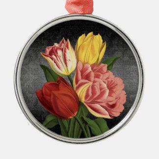 Vintage Art-Frühlings-Blumen - Verzierung rund Rundes Silberfarbenes Ornament