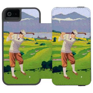 Vintage Art-Hochländer, die Szenen-Kunst Golf Incipio Watson™ iPhone 5 Geldbörsen Hülle