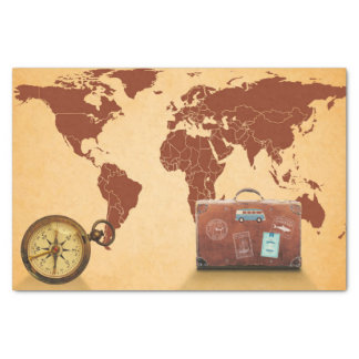 Vintage Art, Karte des Weltdruckes Seidenpapier