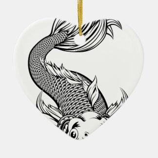 Vintage Art Koi Karpfen-Fische Keramik Ornament