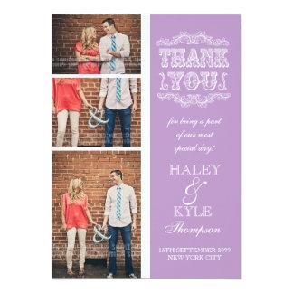 Vintage Art lila Hochzeit danken Ihnen Foto-Karten 12,7 X 17,8 Cm Einladungskarte
